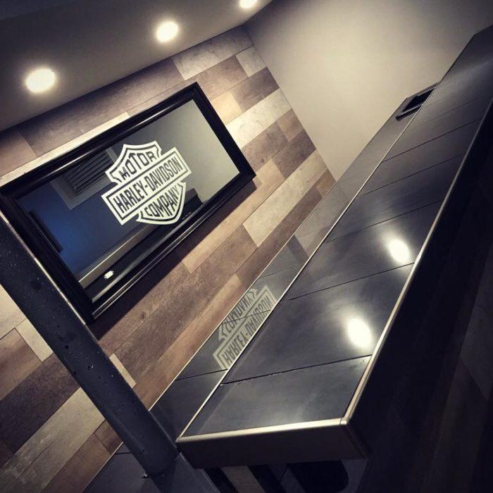 vinyl, etched, Wrap, bar, graphics, logo